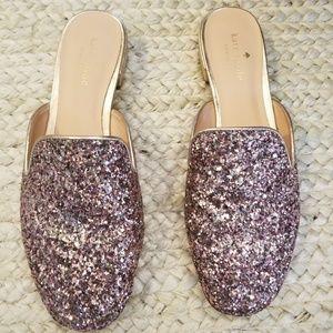 Kate Spade Pink Glitter Mules